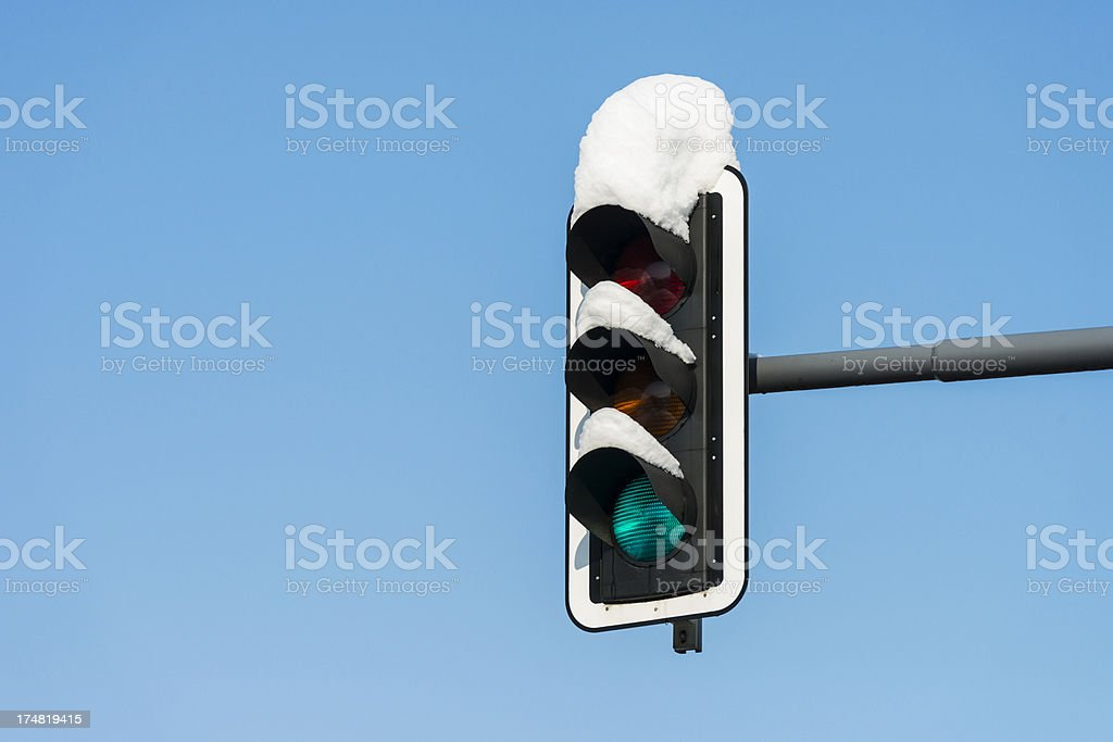 snow covered green traffic light royalty-free stock photo