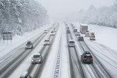 slippery highway in wintertime