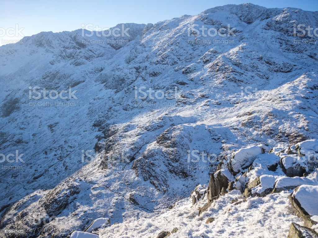 Snow covered hillside in Langdale Lake District stock photo