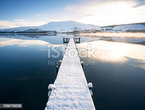 January snow covering a long jetty on Loch Earn.