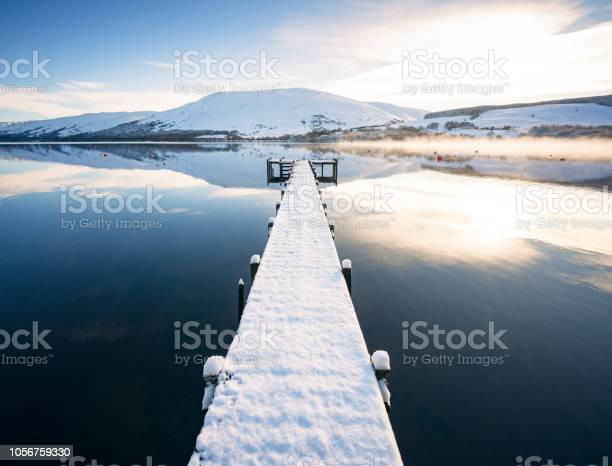 Photo of Snow covered jetty on Loch Earn in Scotland