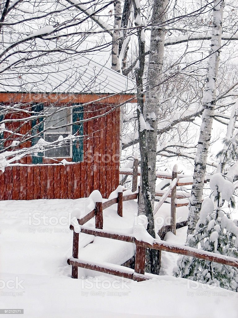 Snow Covered Lakeside Cabin During Snowstorm royalty-free stock photo