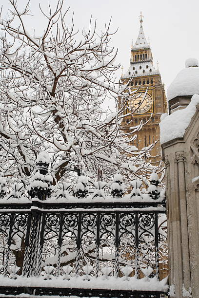 Snow Covered London stock photo