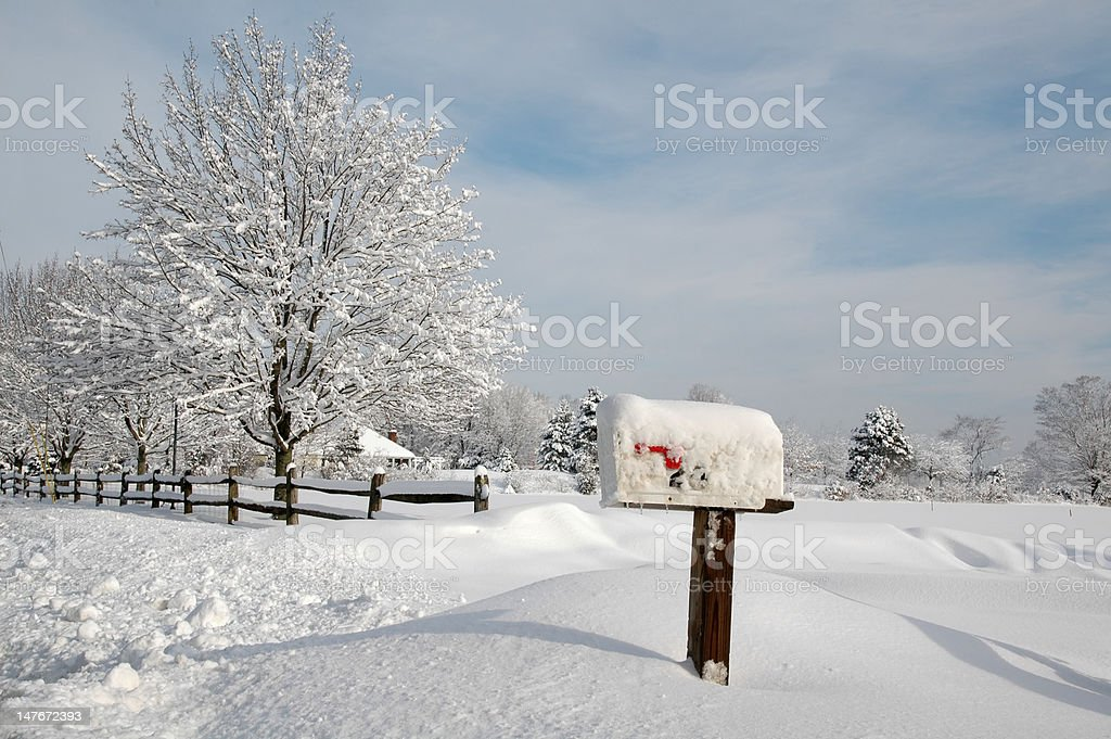 Snow Covered Mailbox stock photo