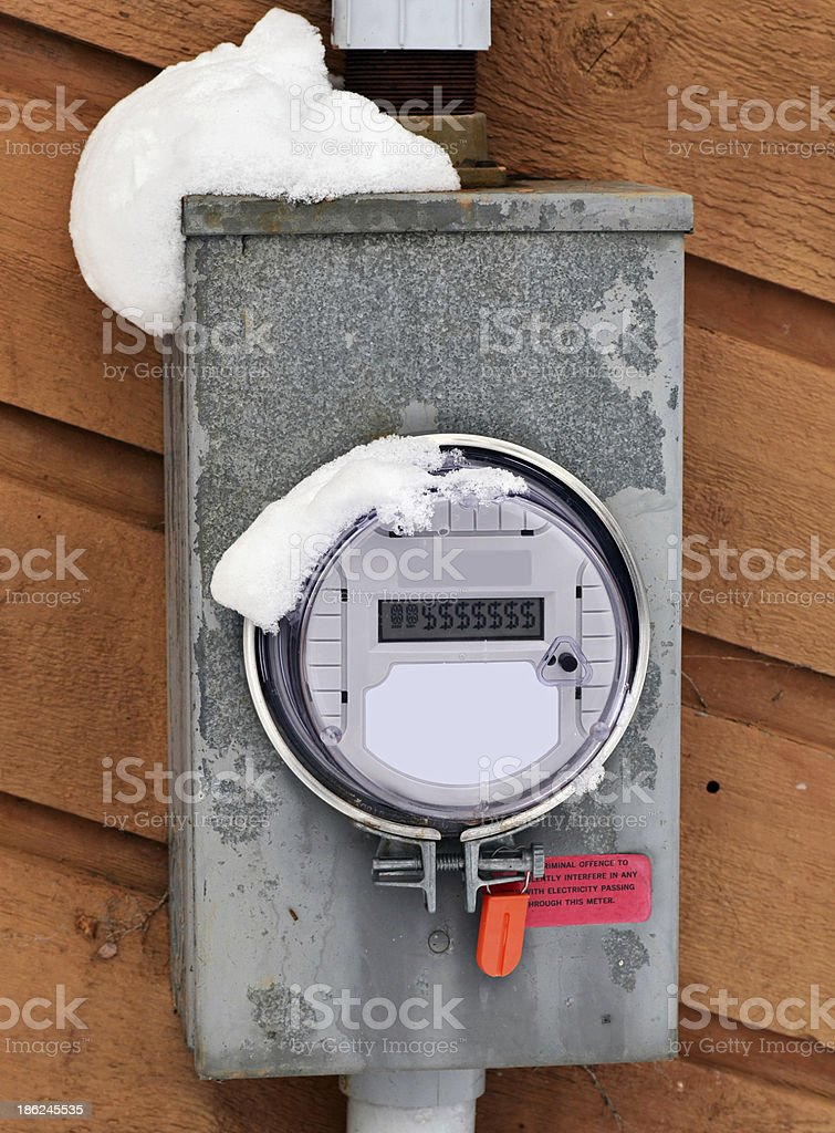 Snow Covered Meter Displaying $ Dollar Signs stock photo