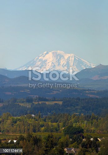 Snow covered Mount Adams in Washington State on a clear blue sky day summertime