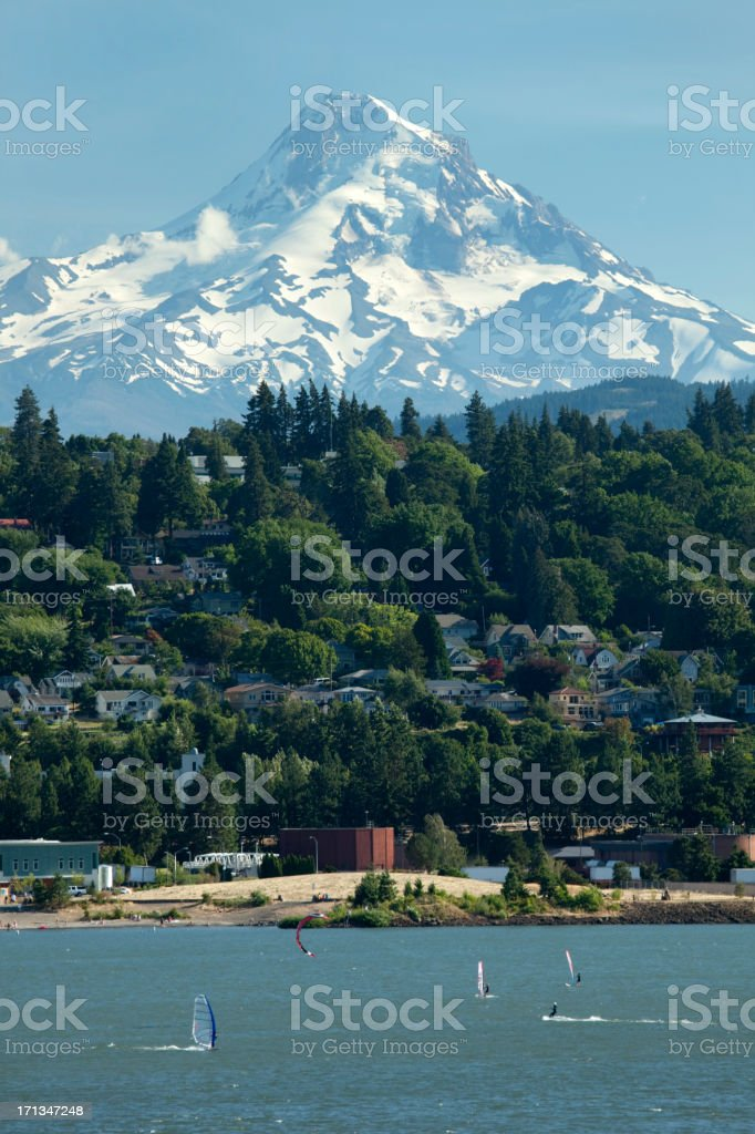 Snow covered Mount Hood and Columbia River stock photo