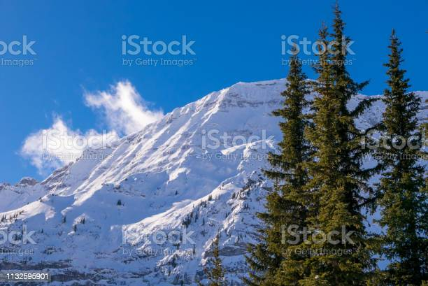 Photo of A snow covered mountain on a clear blue winter day in the Mountains at Black Prince Cirque in Kananaskis, Alberta