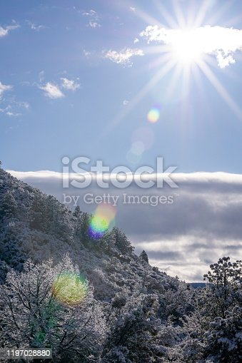 A snow-covered Arizona mountain in mourning sunlight.