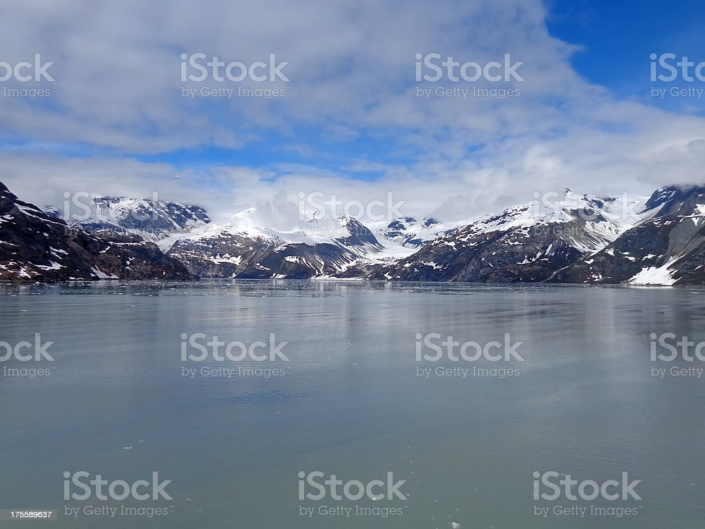 Snow Covered Mountain Range Glacier Bay National Park Alaska stock photo