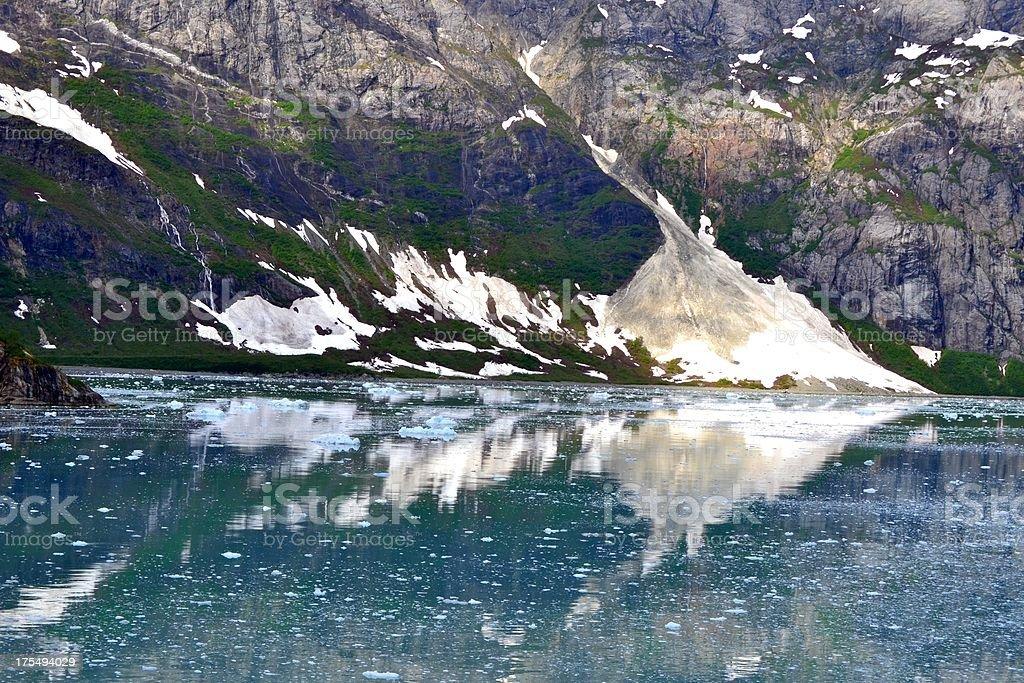 Snow Covered Mountain Reflections Glacier Bay National Park Alaska stock photo