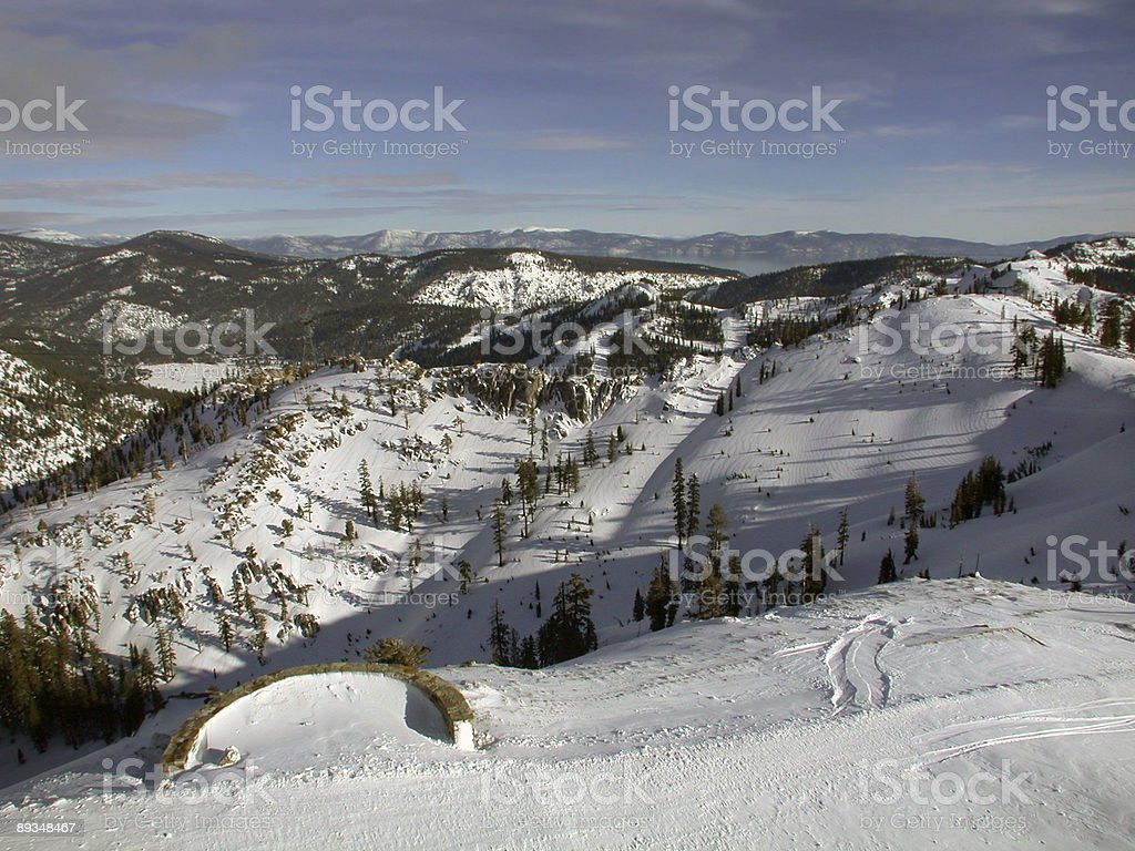 Snow Covered Mountains at Lake Tahoe royalty-free stock photo