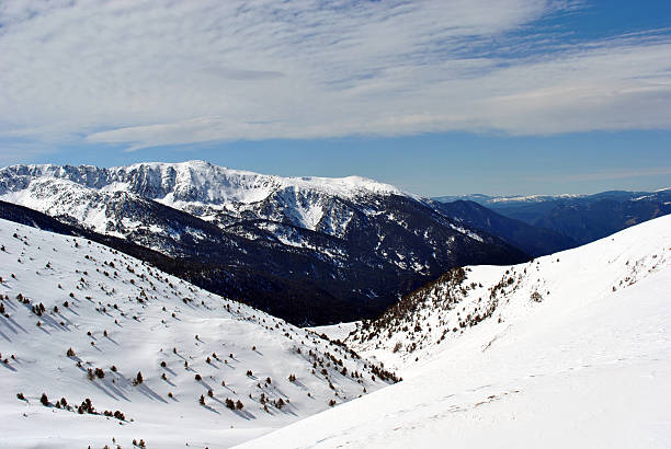 Snow covered mountains in Andorra stock photo