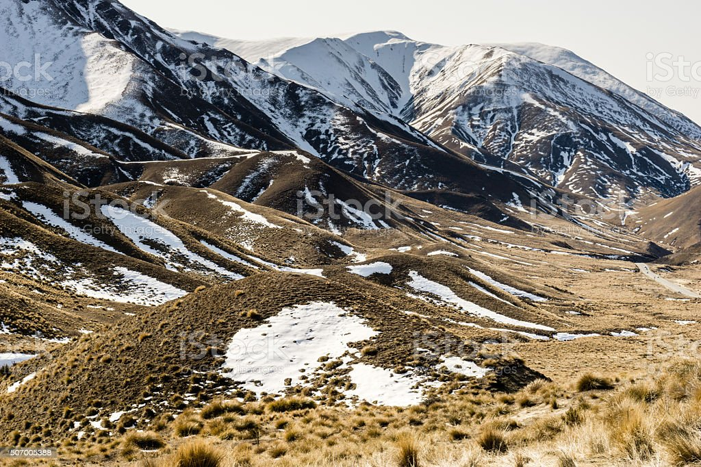 Snow covered mountains of Lindi's Pass stock photo