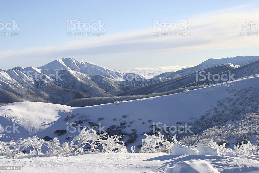 Snow covered mountains stock photo