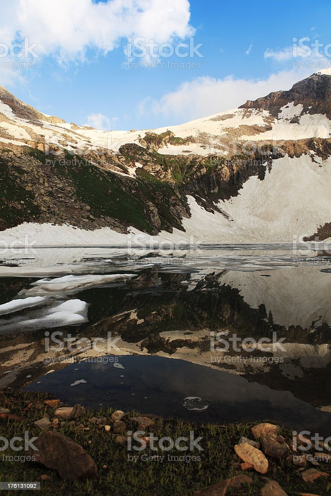 Snow Covered Mountains reflected in Natural Lake royalty-free stock photo