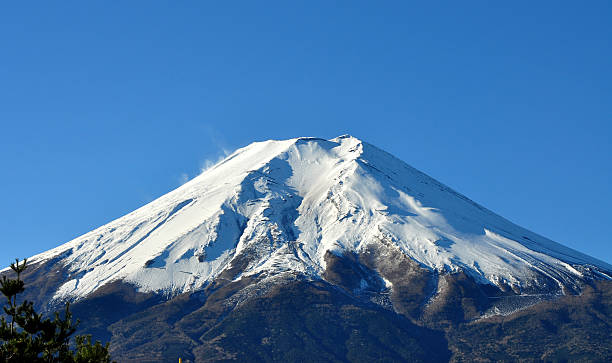 Snow Covered Mt Fuji Under Clear Blue Skies