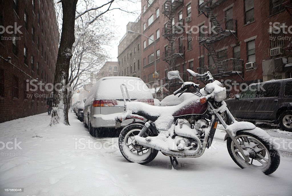 snow covered NYC street royalty-free stock photo
