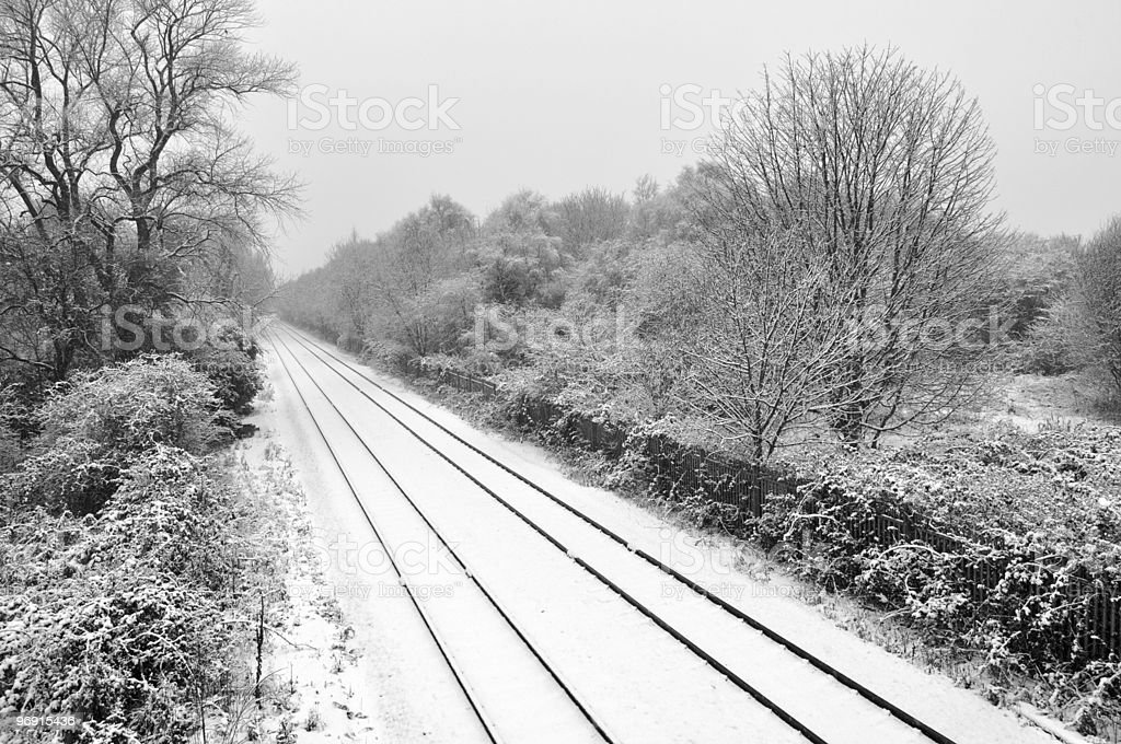 Snow Covered Railway royalty-free stock photo