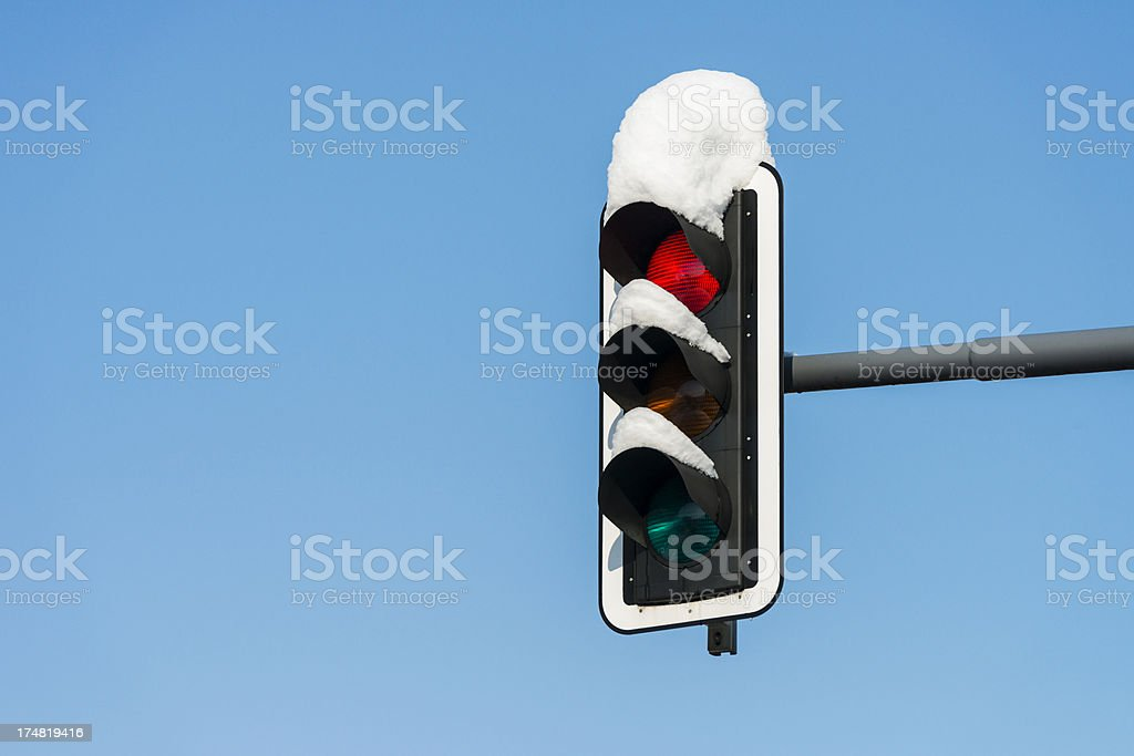 snow covered red traffic light royalty-free stock photo