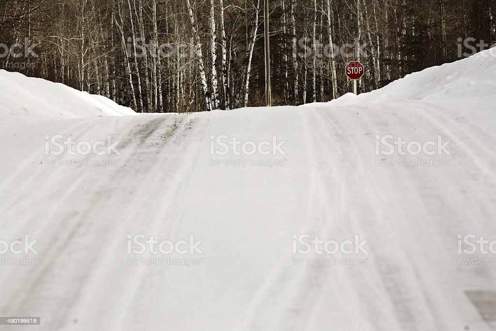 Snow covered road in winter stock photo