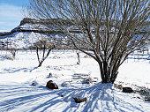 Snow covering labyrinth in rock garden in Rockville Utah near Zion National Park Utah