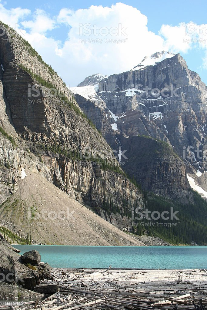 Snow covered Rocky mountains stock photo