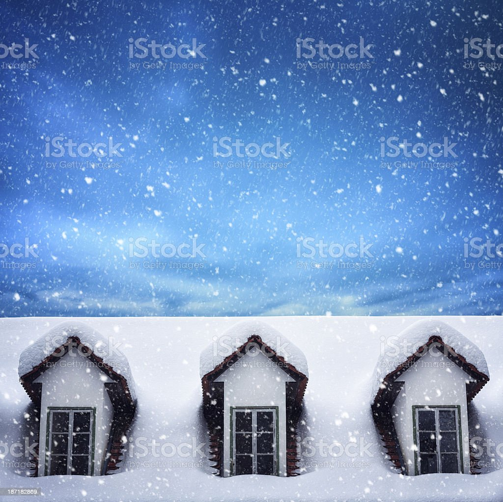 Snow Covered Roof royalty-free stock photo