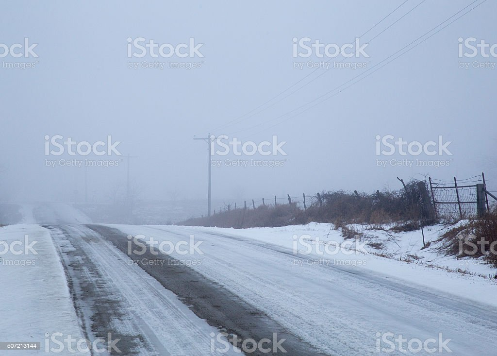 Snow Covered Rural Dirt Road And Telephone Poles stock photo