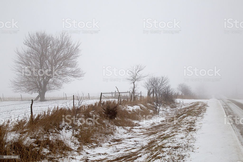 Snow Covered Rural Dirt Road And Trees stock photo
