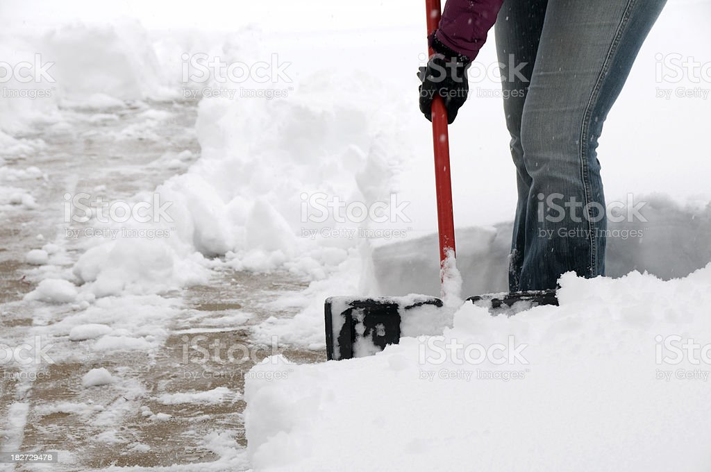Snow Covered Sidewalk stock photo