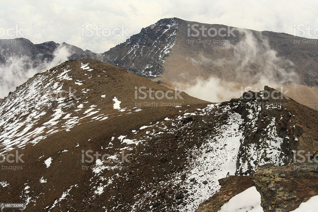 snow covered slopes in Sierra Nevada National Park stock photo