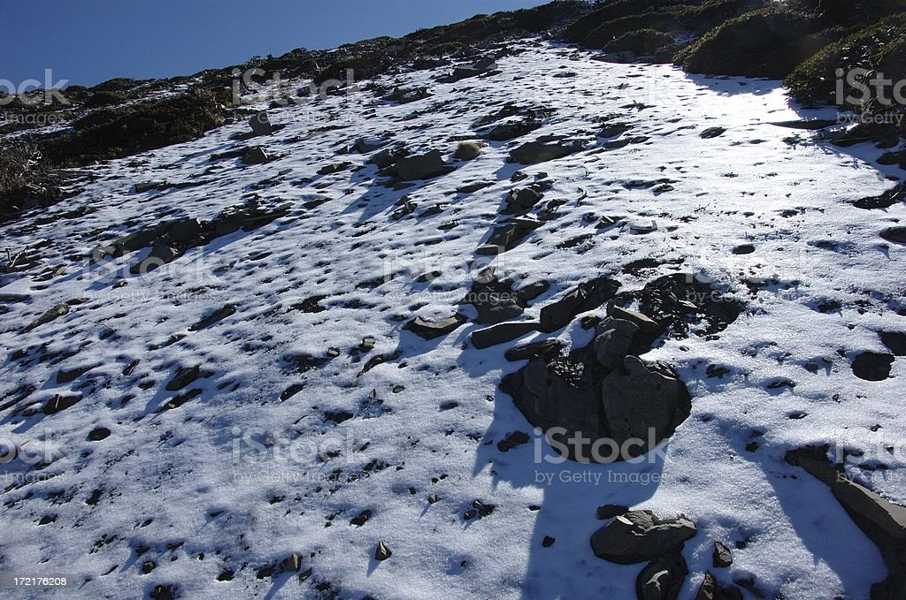 Snow covered slopes @ Syue Shan (Taiwan Central Mountain Range) royalty-free stock photo