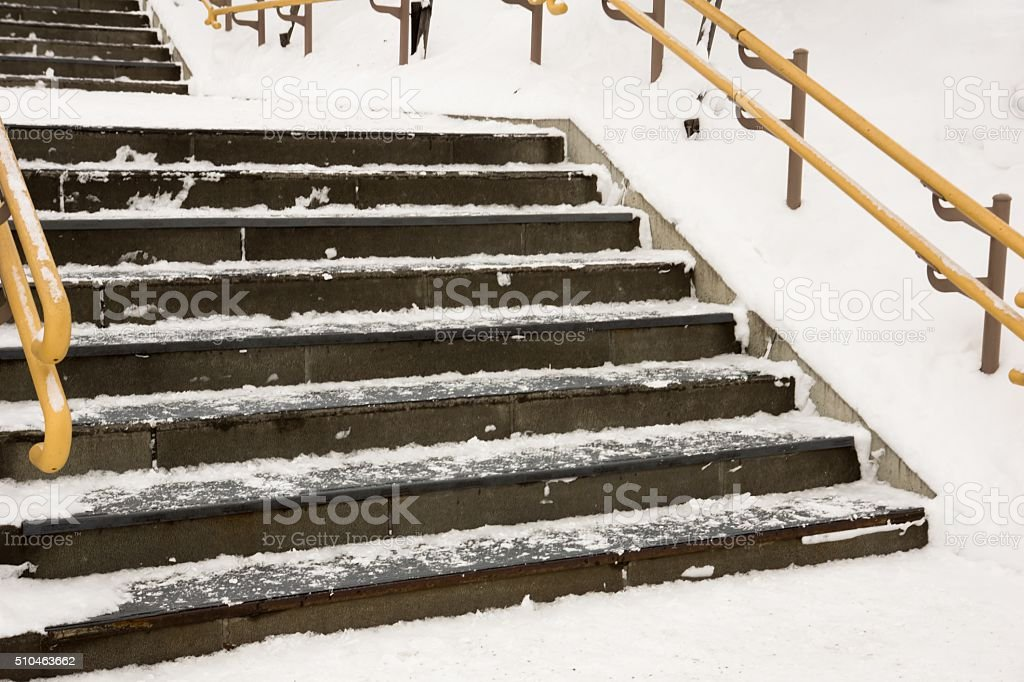 Snow covered stairs stock photo