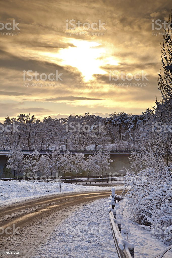 snow covered street in sunrise royalty-free stock photo
