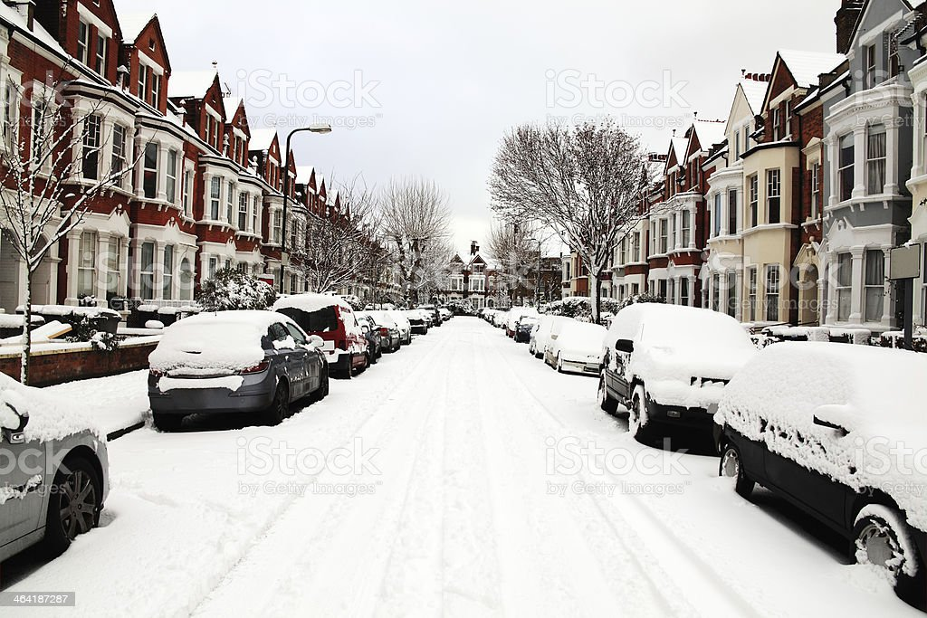 Snow Covered Street stock photo