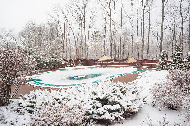 snow covered swimming pool Snowy backyard with white bushes and snow covered swimming pool in late March during an unexpected snowfall in southern Indiana covering stock pictures, royalty-free photos & images