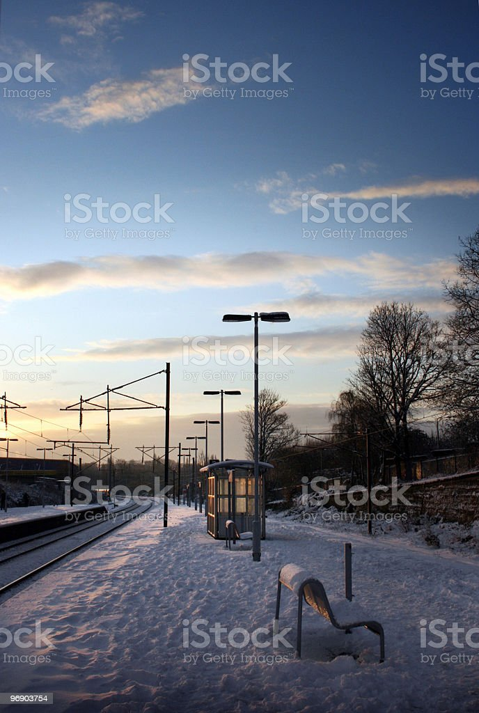 Snow covered train platform royalty-free stock photo