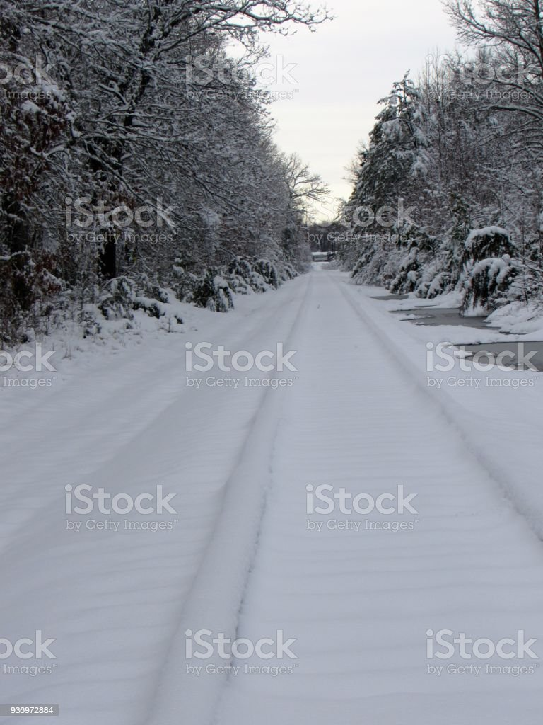 Snow Covered Train Tracks stock photo