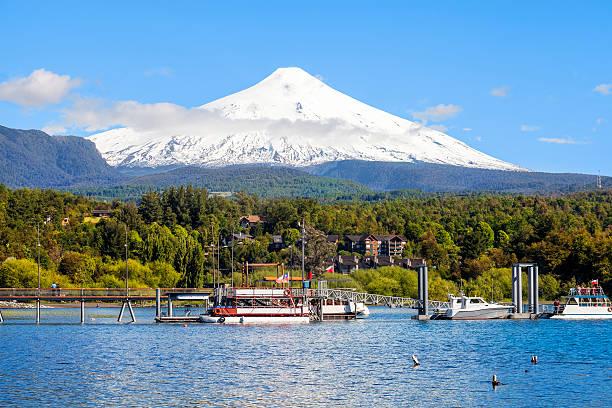 Snow covered Volcano Villarica, Chile stock photo