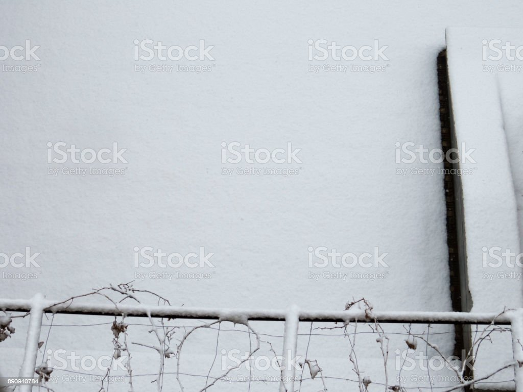 Snow Covered Yard Top View Background stock photo