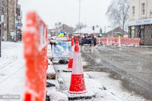 istock Snow covers England streets 859237590
