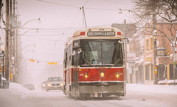 snow day in toronto - toronto streetcar stock photos and pictures