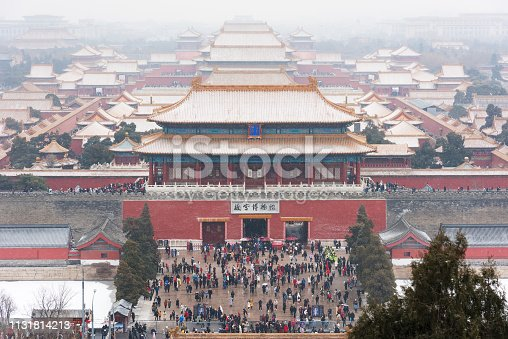 Snow day overlooking the panorama of the Forbidden City in Beijing, China