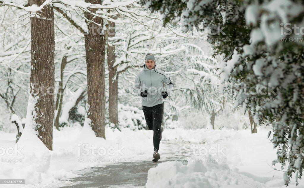 Snow day runing stock photo