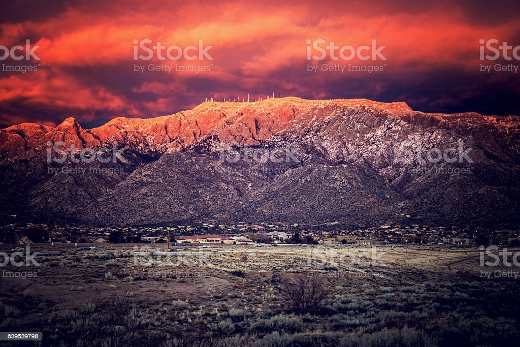 Snow dusted sandia mountains at magic hour stock photo istock snow dusted sandia mountains at magic hour royalty free stock photo sciox Choice Image