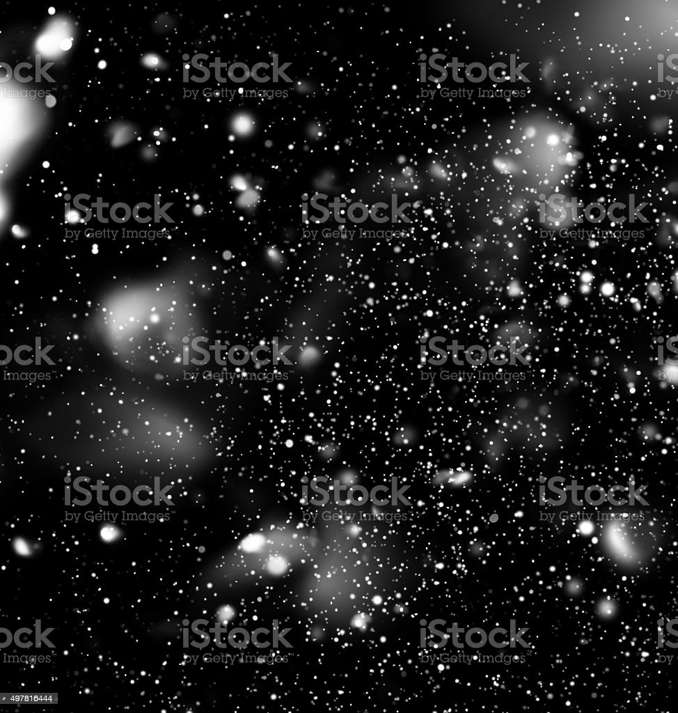 Snow Falling from Dark Night Sky. Digital Drawn stock photo