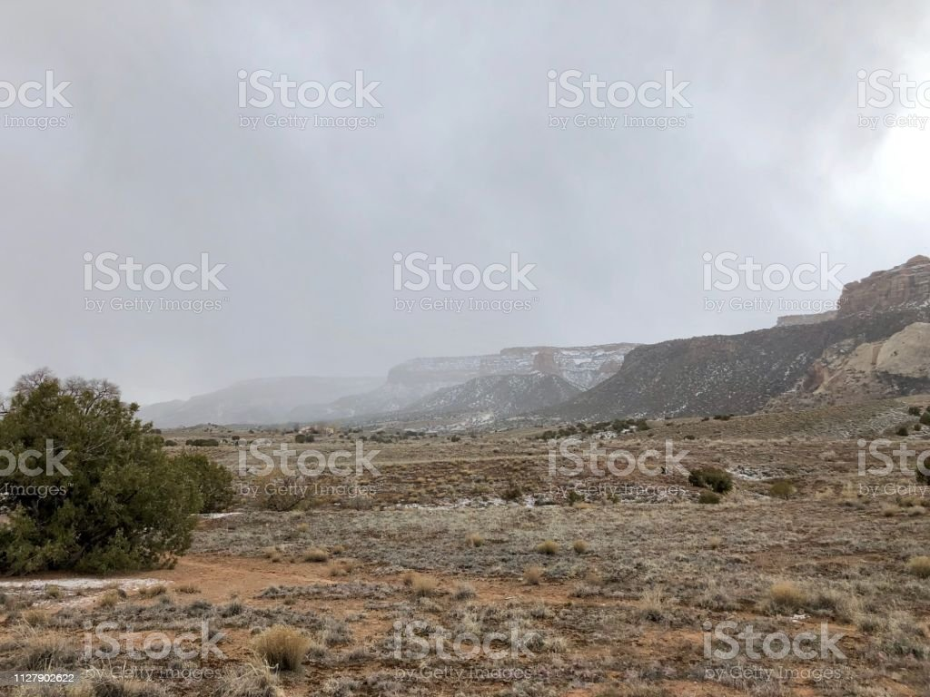 Snow Falls on the Colorado National Monument stock photo