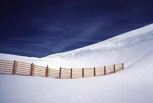 Snow Fence, Blue Sky, Swiss Alps