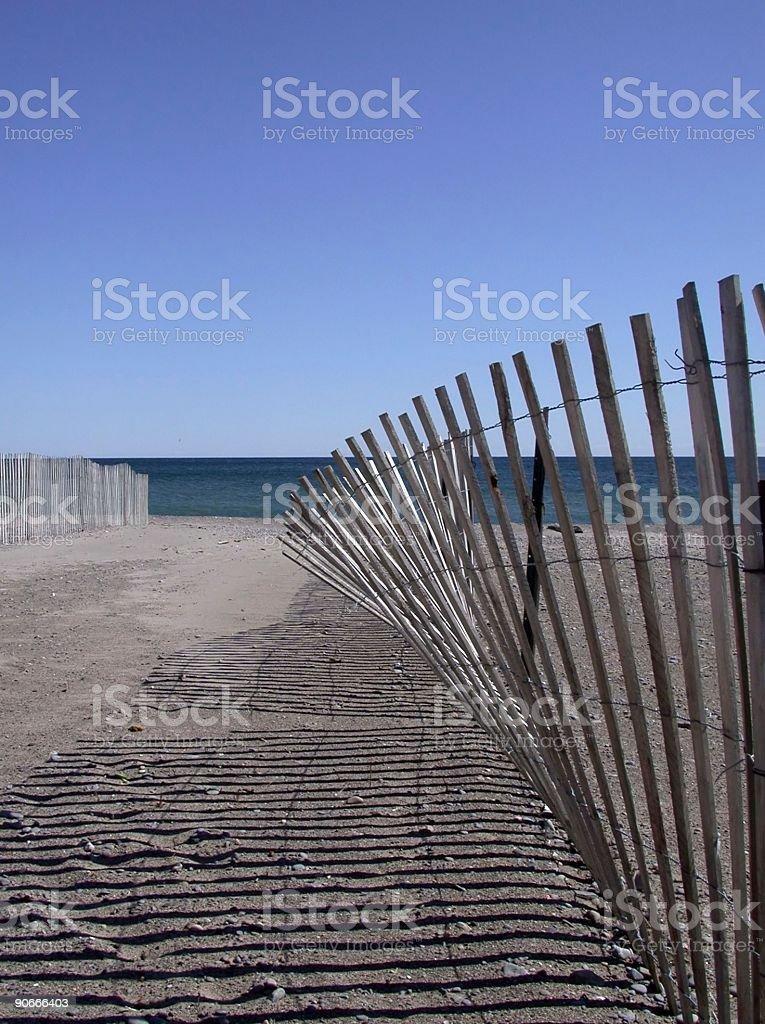 Snow Fence on Beach royalty-free stock photo